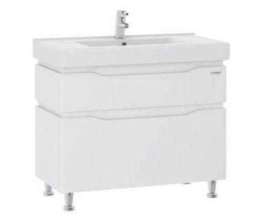 Тумба для ванной Alessa 90 белая c умывальником Принц