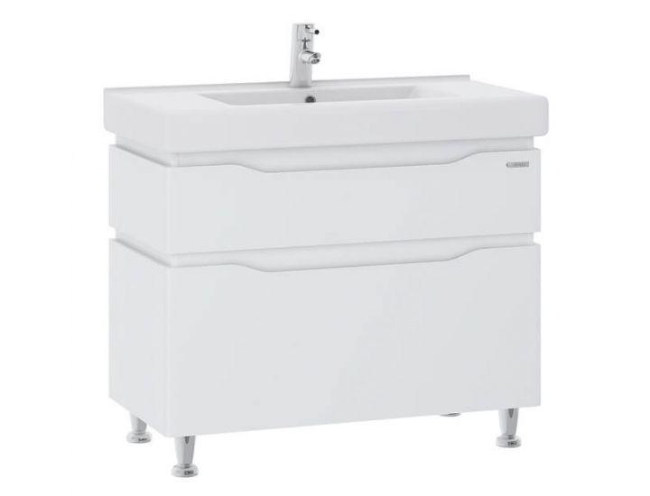 Тумба для ванной Alessa 100 белая c умывальником Принц