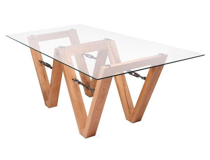 Деревянный дизайнерский обеденный стол Wola (Воля) стекло