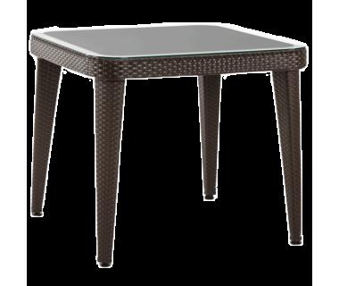 Стол Tilia Osaka 90x90 см столешница из стекла, ножки пластиковые венге