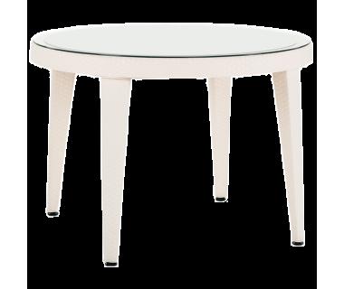 Стол Tilia Osaka d110 см столешница из стекла, ножки пластиковые кремовый