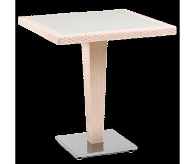 Стол Tilia Antares 70x70 см база хромированная кремовый