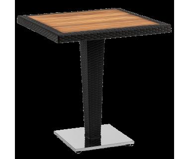 Стол Tilia Antares 70x70 см столешница ироко, база хромированная черный