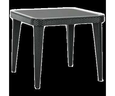 Стол Tilia Osaka 90x90 см столешница из стекла, ножки пластиковые черный