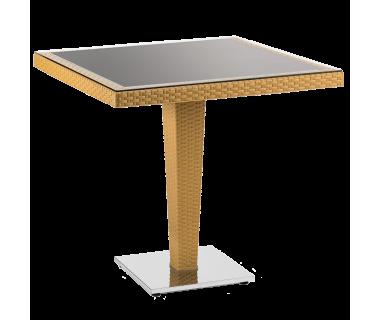 Стол Tilia Antares 80x80 см столешница из стекла, база хромированная цвет дерево
