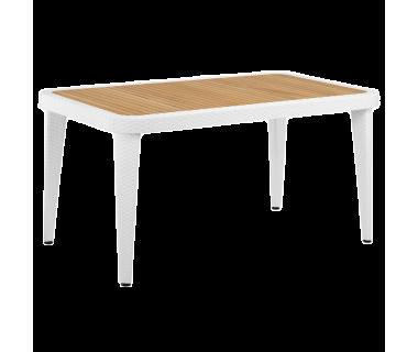 Стол Tilia Osaka 90x150 см столешница ироко, ножки пластиковые белая слоновая кость