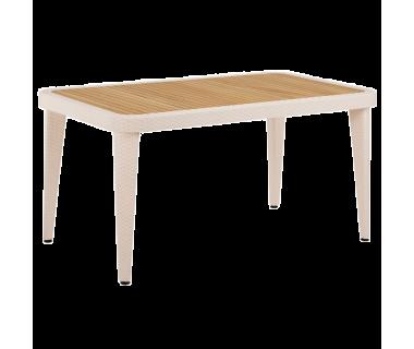 Стол Tilia Osaka 90x150 см столешница ироко, ножки пластиковые кремовый