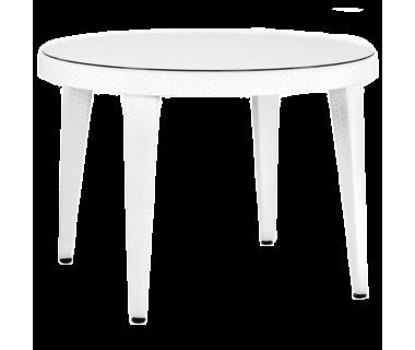 Стол Tilia Osaka d110 см столешница из стекла, ножки пластиковые белая слоновая кость
