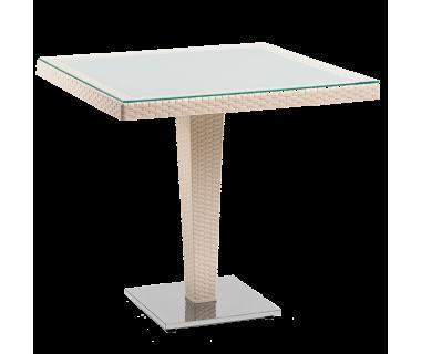 Стол Tilia Antares 80x80 см столешница из стекла, база хромированная кремовый