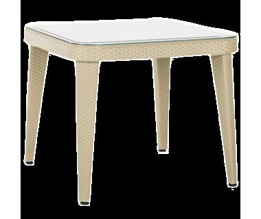Стол Tilia Osaka 90x90 см столешница из стекла, ножки пластиковые цвет кофе