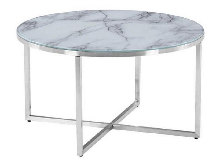 Столик журнальный круглый стеклянный C-181 белый мрамор