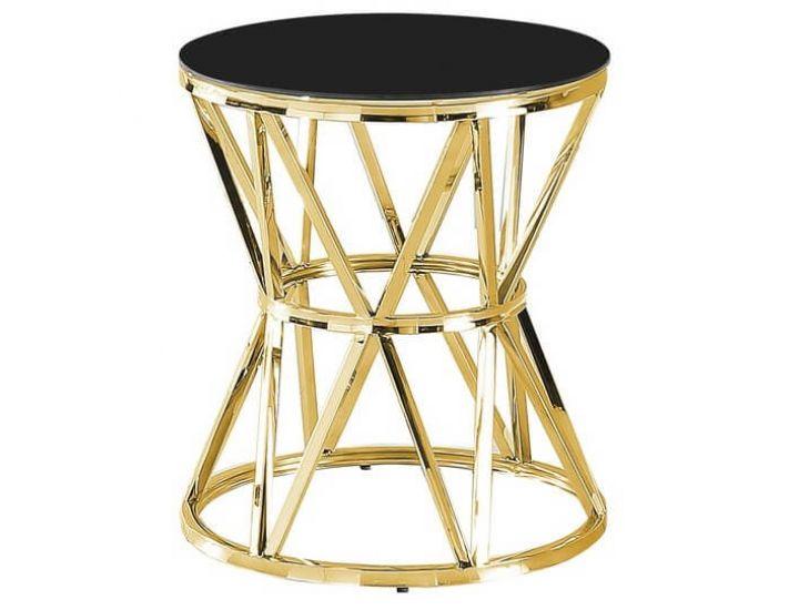 Стеклянный журнальный стол CH-1 черный, золото