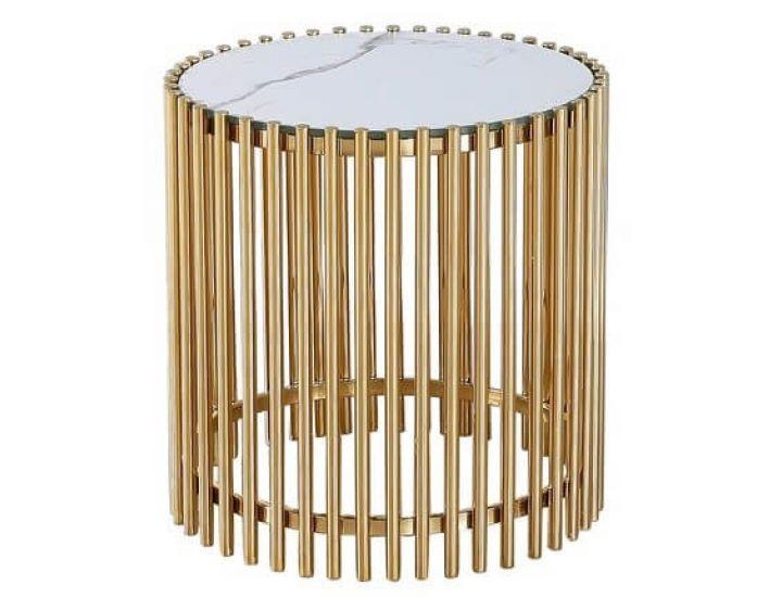Стеклянный журнальный стол CJ-1 белый мрамор, золото