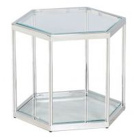 Стол журнальный CK-3 прозрачный, серебро