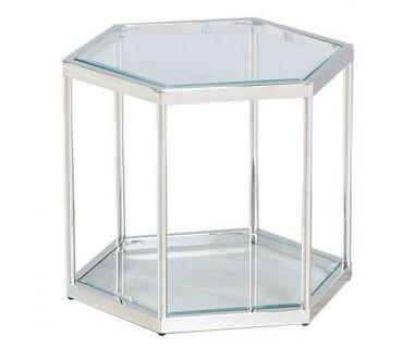 Стол журнальный CK-1 прозрачный, серебро