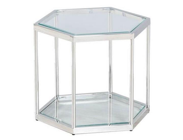Стеклянный журнальный стол CK-2 прозрачный, серебро