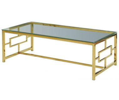 Стол журнальный CL-1 прозрачный, золото