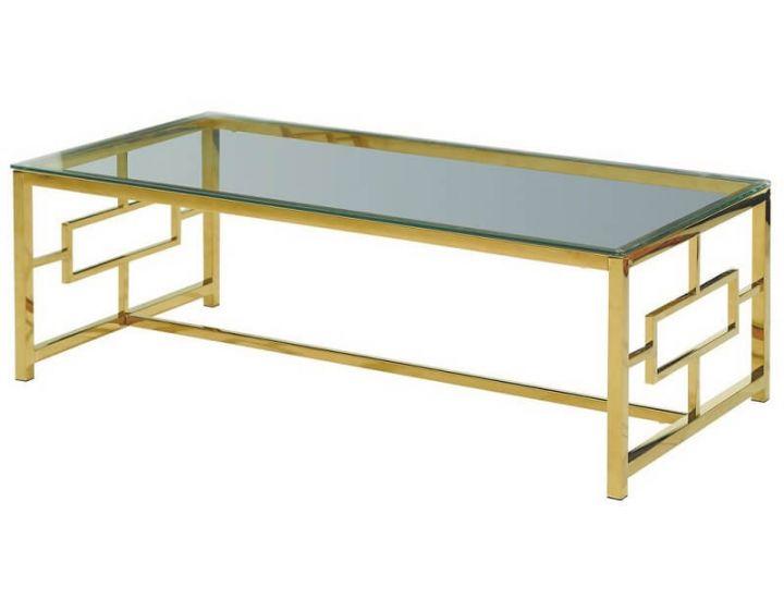 Стеклянный журнальный стол CL-1 прозрачный, золото