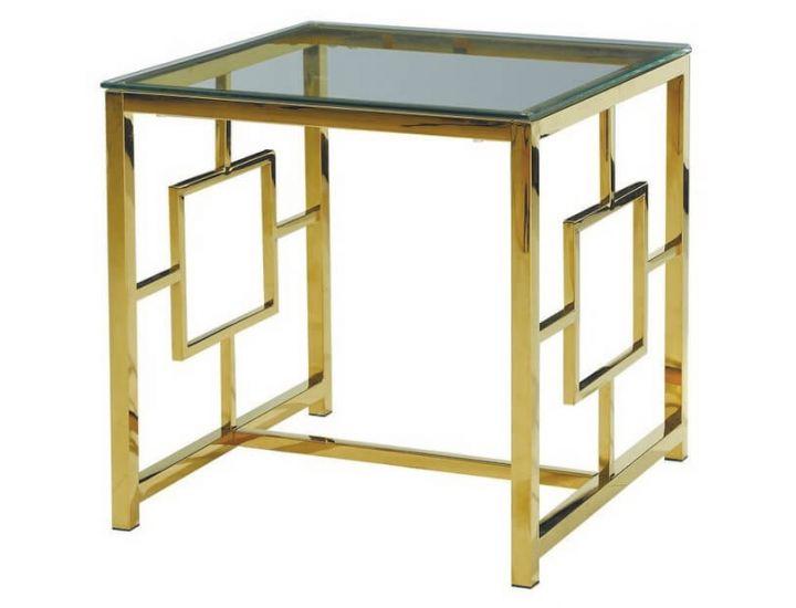 Стеклянный журнальный стол CL-2 прозрачный, золото