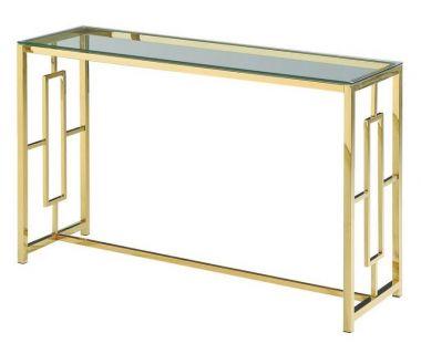 Стол консоль CL-3 прозрачный, золото