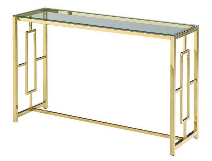 Стеклянный стол консоль CL-3 прозрачный, золото