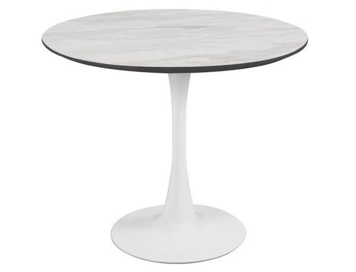 Стол обеденный  круглый T-318 белый мрамор 80 см