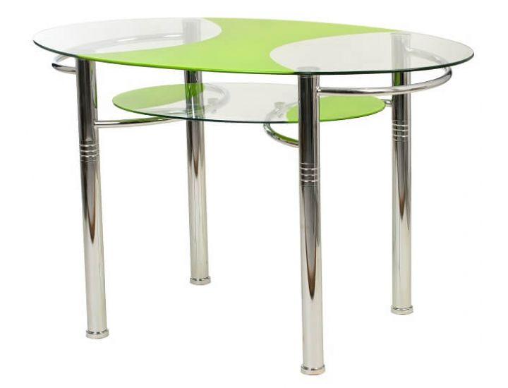 Стол стеклянный обеденный T-211 зеленый 120*70*75см