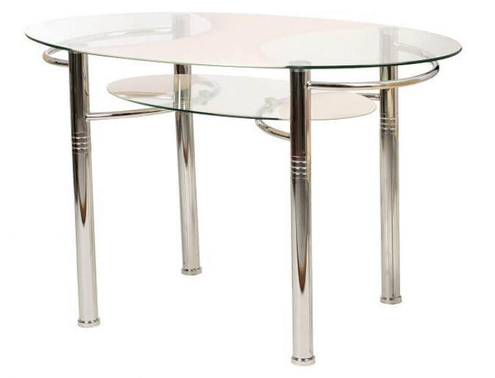 Стол стеклянный обеденный T-211 кремовый 120*70*75см