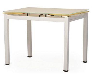 Стол раскладной стеклянный T-231-8 кремовый 90 (+60)*70*75 см