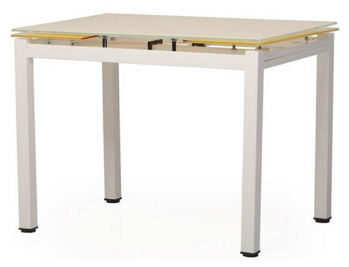 Стол стеклянный обеденный T-231-8 кремовый 90 (+60)*70*75 см