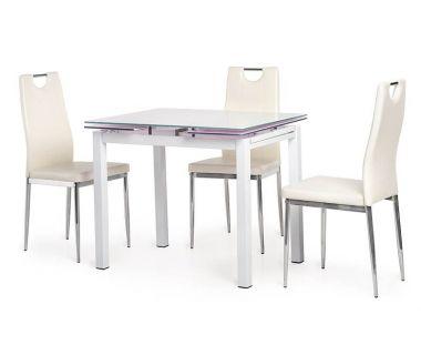 Стол раскладной стеклянный T-231-8 белый 90 (+60)*70*75 см