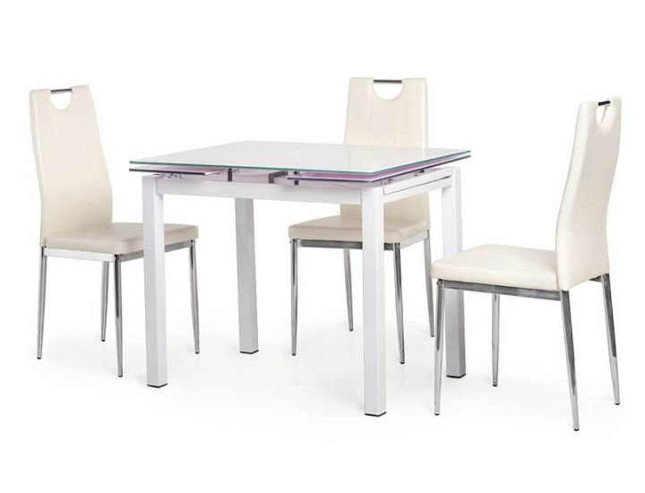 Стол стеклянный обеденный T-231-8 белый 90 (+60)*70*75 см