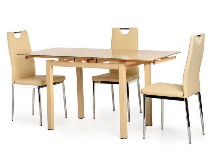 Стол стеклянный обеденный T-231-8 бежевый 90 (+60)*70*75 см
