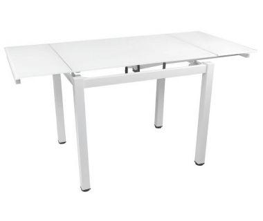 Стол раскладной стеклянный T-231-9 снежно-белый 100 (+60)*70*75 см