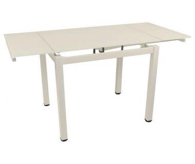 Стол раскладной стеклянный T-231-9 кремовый 100 (+60)*70*75 см
