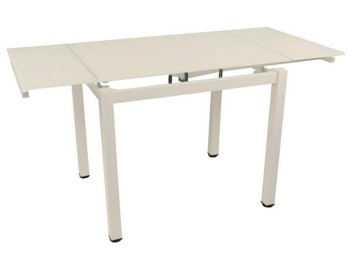 Стол стеклянный обеденный T-231-9 кремовый 100 (+60)*70*75 см