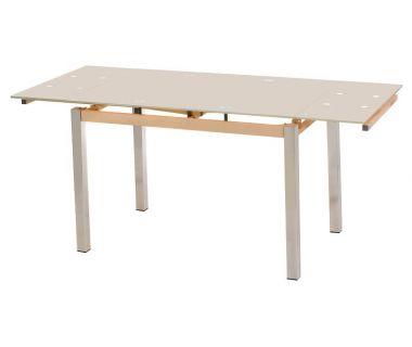 Стол раскладной стеклянный T-231 кремовый 110 (+60)*74*75 см