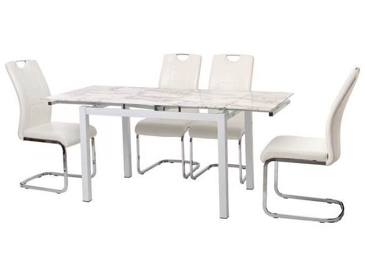 Стол стеклянный раскладной обеденный T-231 белый мрамор 110 (+60)*74*75см