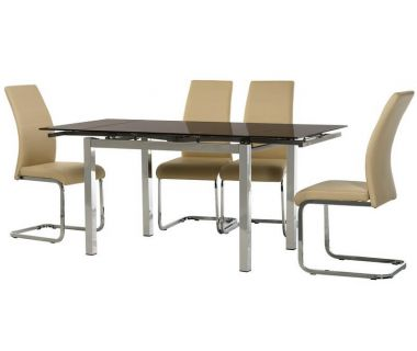Стол раскладной стеклянный T-231 коричневый 110 (+60)*74*75 см