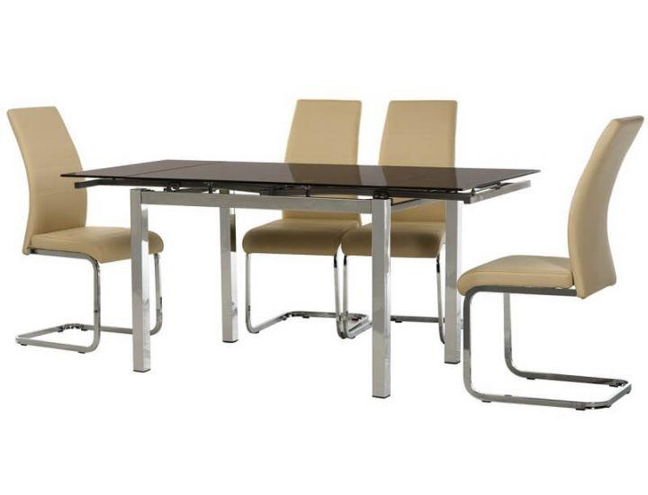 Стол стеклянный обеденный T-231 коричневый 110 (+60)*74*75 см