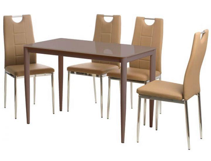 Стол стеклянный обеденный T-300-11 кофе мокко 110*60*75см