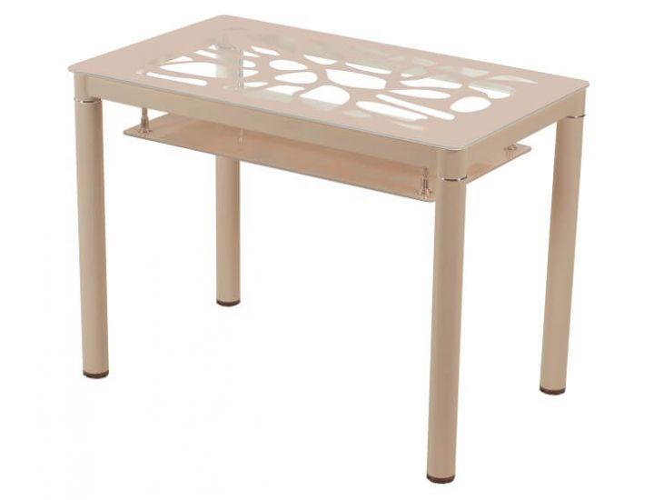Стол стеклянный обеденный T-300-2 кремовый 100*60*76см