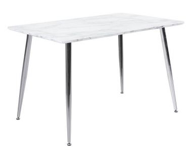 Стол стеклянный T-307 белый мрамор 120*80*76см