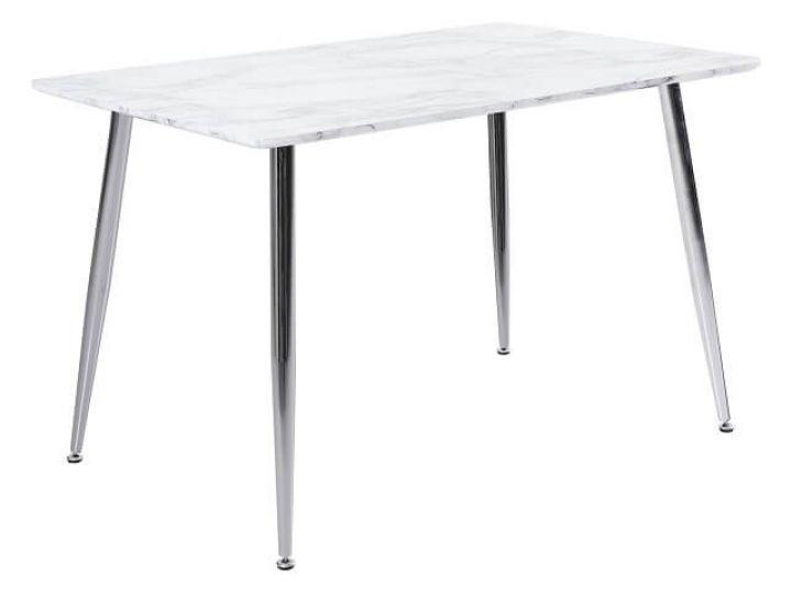 Стол стеклянный обеденный T-307 белый мрамор 120*80*76см