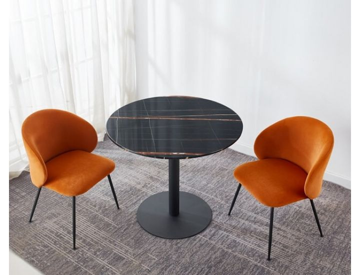 Стол обеденный  круглый T-320 черная магма 90 см