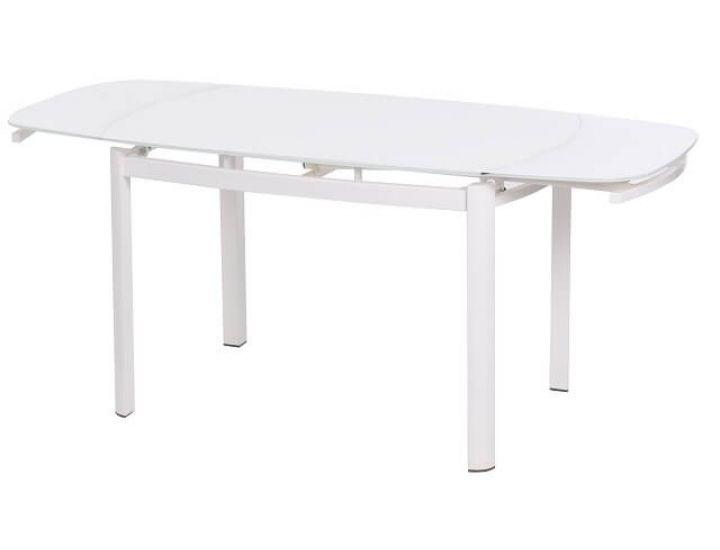 Стол стеклянный обеденный T-600 снежно-белый 120(+60)*80*75см