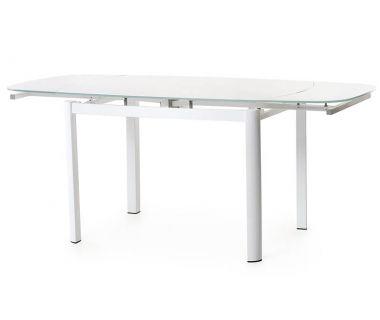 Стол раскладной стеклянный T-600-2 белый 100(+60)*70*75 см