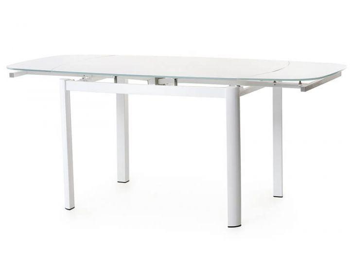 Стол стеклянный обеденный T-600-2 белый 100(+60)*70*75 см