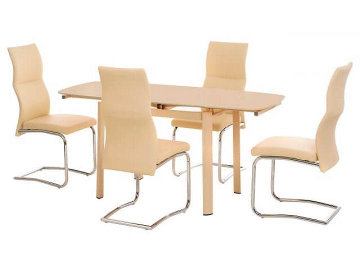 Стол стеклянный обеденный T-600-2 кремовый 100(+60)*70*75 см