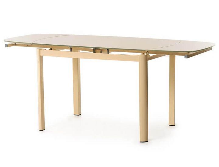 Стол стеклянный обеденный T-600 кремовый 120(+60)*80*75см